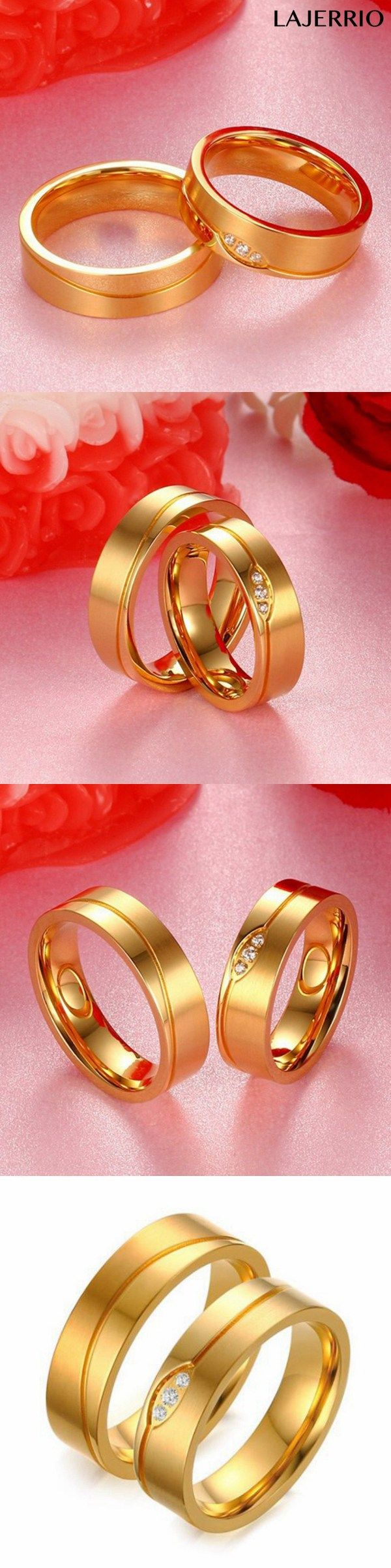 Round Cut White Sapphire Gold Titanium Steel Promise Rings for ...