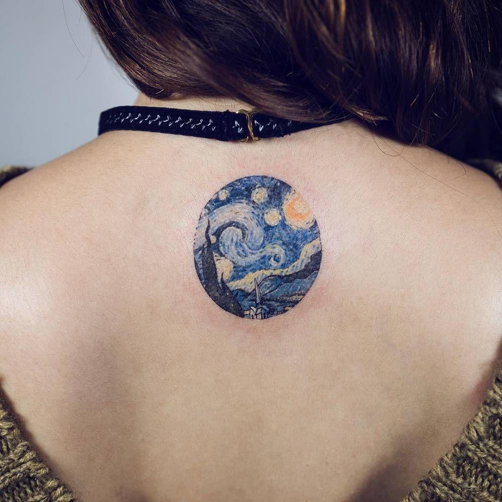 Cutelittletattoos Van Gogh S The Starry Night Circle Tattoo On