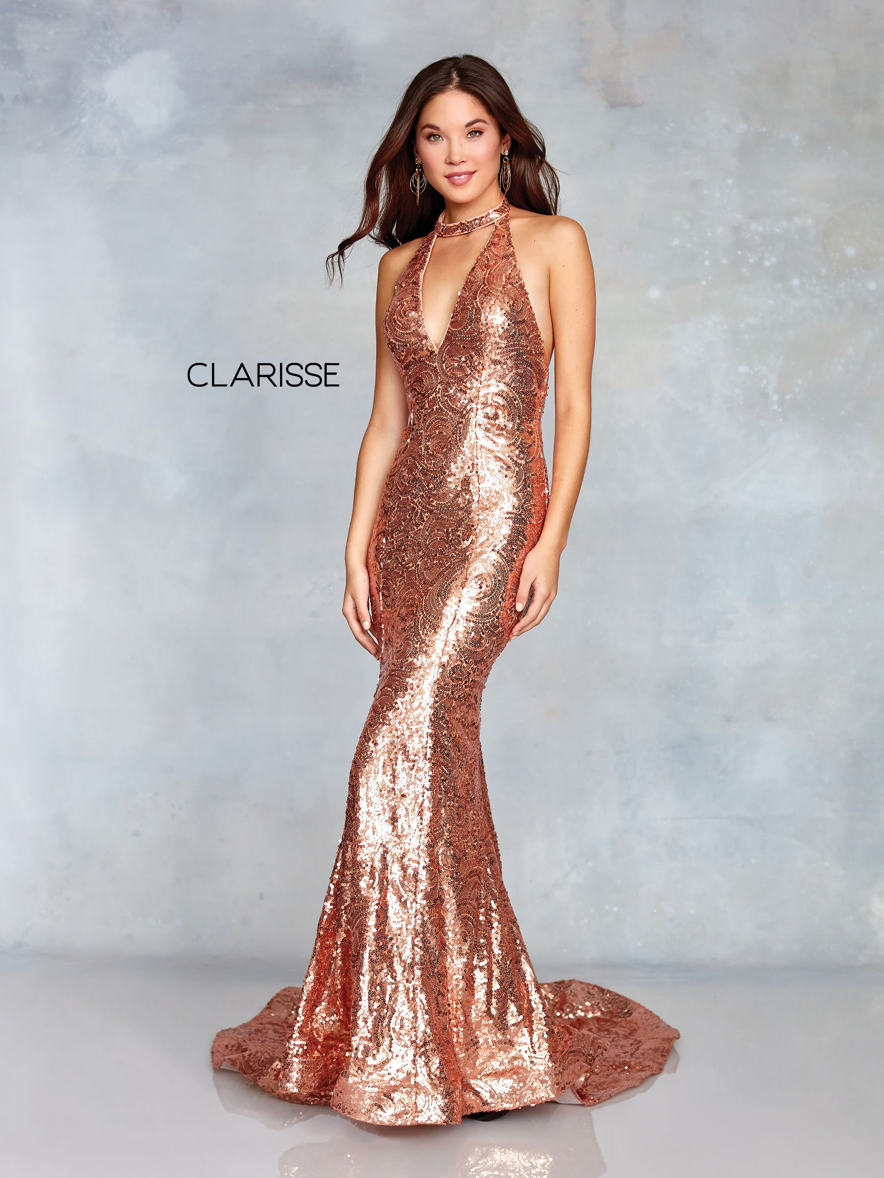 ae9ec30d333 3721 - Rose gold and nude sequin prom dress