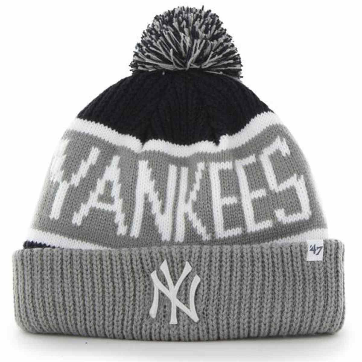 9d11d441339 New York Yankees 47 Brand Gray Navy Calgary Knit Cuff Beanie Cap Poofball