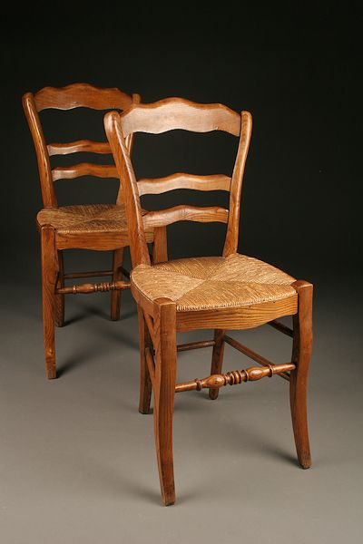 Pair of antique French country side chairs with rush seats made in elm.  Price is $265.00 EACH. #antique #chairs - Pair Of Antique Country French Elm Rush Seat Side Chairs In 2018