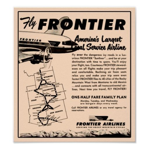 1953 Frontier Airlines Ad Reprint Poster