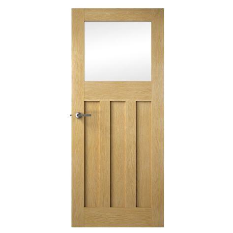 Premdor 1930s Shaker Style White Oak Clear Glazed Internal Door
