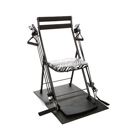 Chair Gym Deluxe Exercise System With Twister Seat Mat 5 Workout Dvds And 1 Year Self Magazine Subscription Zebra Hsn Chair Outdoor Chairs Seating