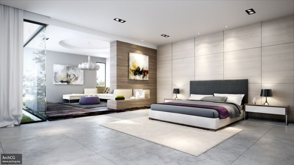 Simple Square Shape Floor Tiles Features White Wall Color And Wooden Wall Layers Modern Master Bedroom Master Bedroom Design Contemporary Bedroom Design