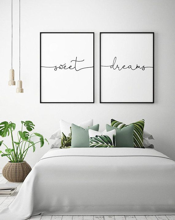 On the bed Art - Sweet Dreams - Printable art (set of 2), bedroom decor, Scandinavian art, bedroom - artist