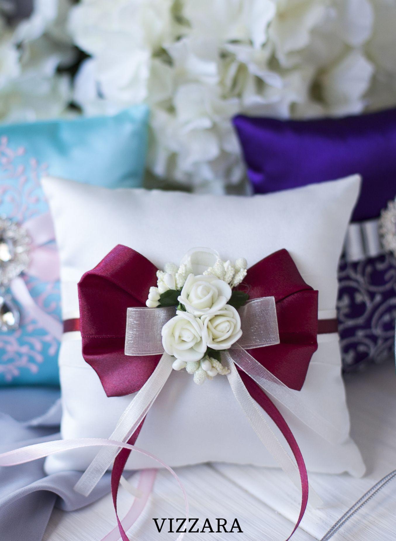 Lillian Rose Purple Flower Wedding Ring Pillow