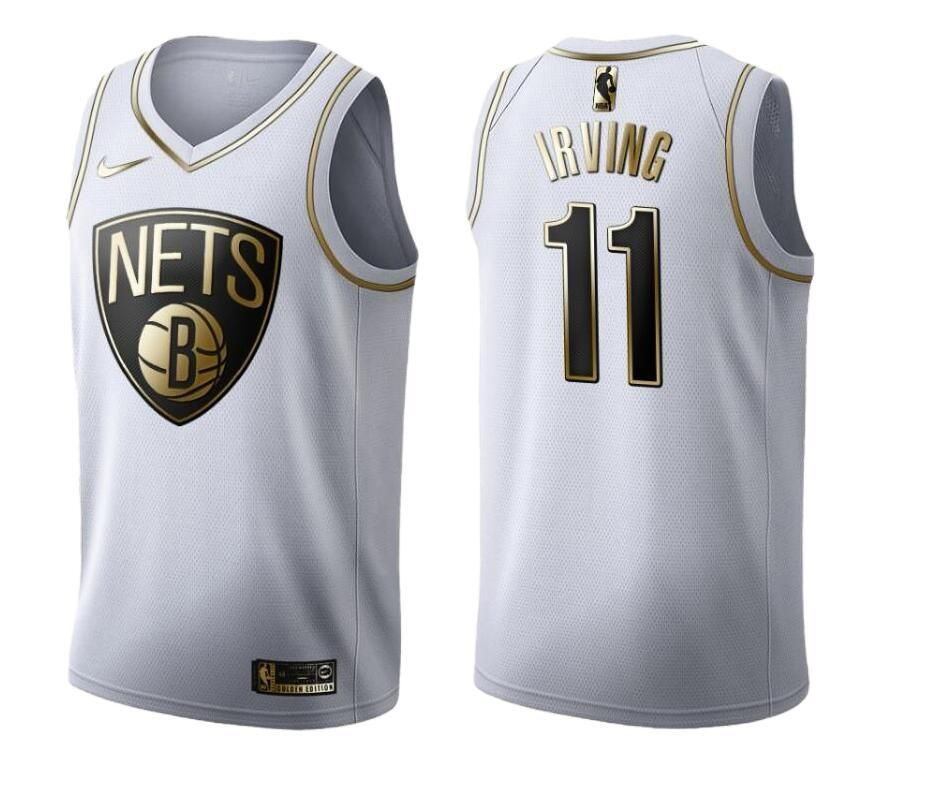 Mens Brooklyn Nets Kyrie Irving 2019 20 Golden Edition White
