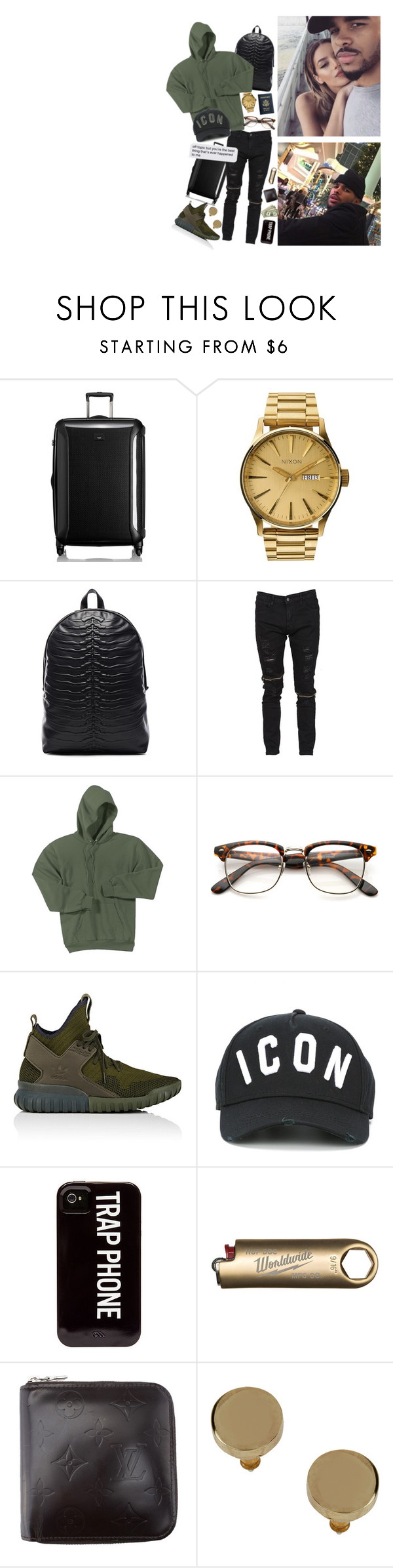 """""""I got her, in the palm of, my hand, she knows I love her, I got her, thought I lost her, again (8)"""" by harveysantiago ❤ liked on Polyvore featuring Tumi, Nixon, Alexander McQueen, adidas, Dsquared2, HUF, Topman, men's fashion and menswear"""