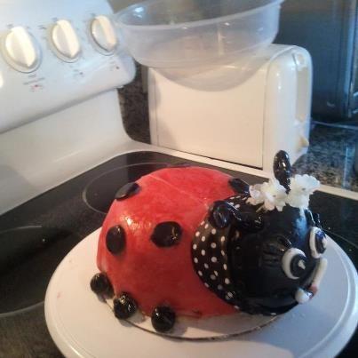 side view of my ladybug cake