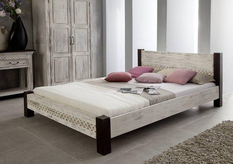 Bett Mango \/ Akazie 160x200x75 weiß gewachst CASTLE-ANTIK #402 - schlafzimmer kiefer weiß