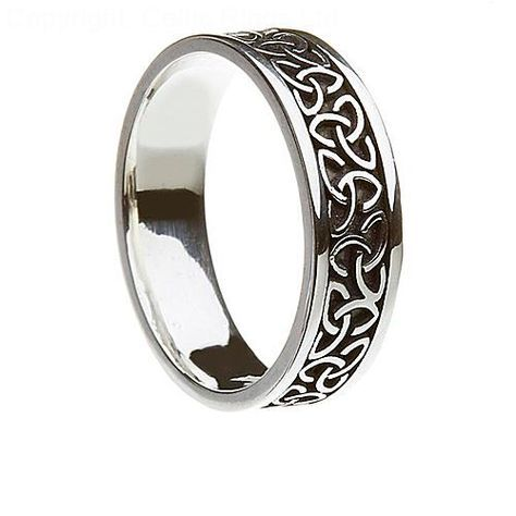 The Aislinn silver Celtic wedding band is equally suitable for a
