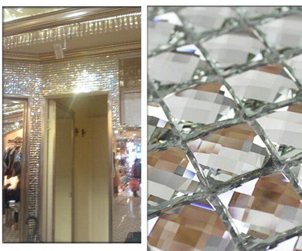 13 Edges Beveled Crystal Diamond Mirror Glass Mosaic Tiles For  Wall_showroom KTV Display Cabinet DIY Decorate