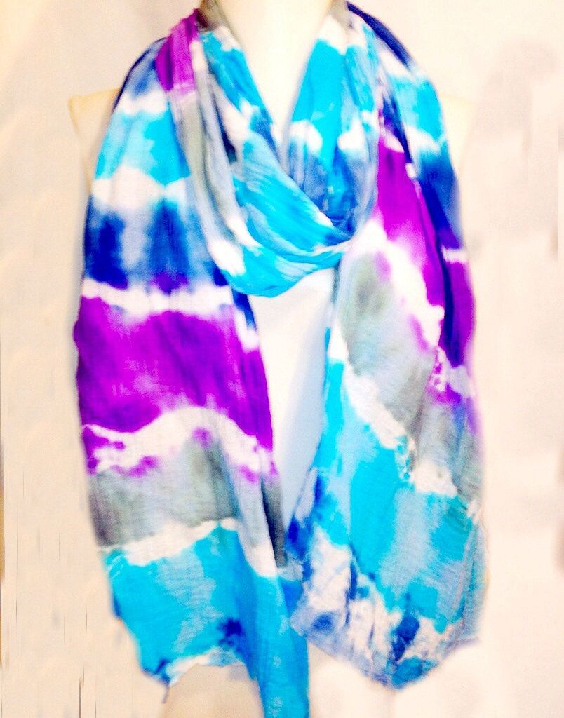 Spring Scarf, Tie Dye Scarf, Purple Turquoise Blue and Gray Gauze Scarf, lightweight Nursing Wrap, Cotton Infinity Scarf, one of a kind by Phatcatpatch on Etsy
