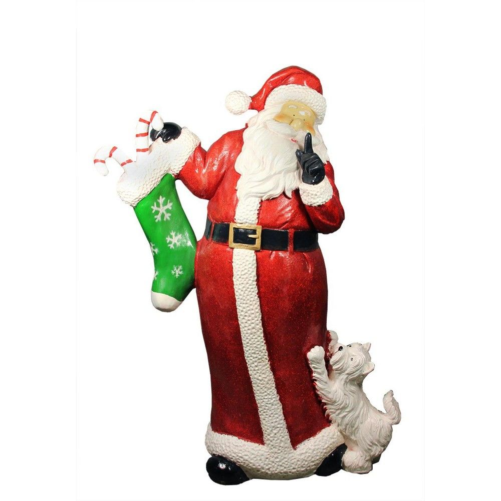123adc51d0108 Christmas Central 48.5 Commercial Size Santa Claus with Puppy Dog Christmas  Outdoor Decoration