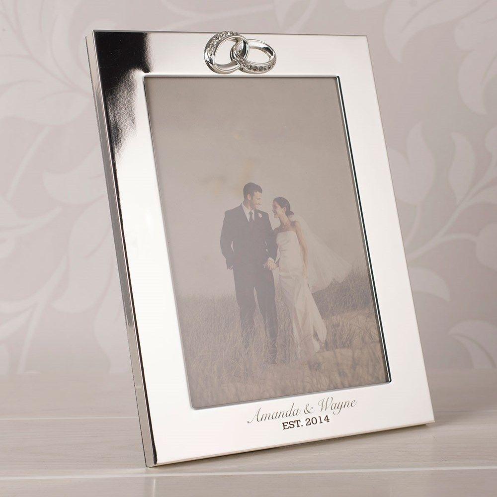 Silver Wedding Photo Frame Crystal Rings Gettingpersonal Silver Wedding Anniversary Gift Framed Wedding Photos Silver Wedding Anniversary