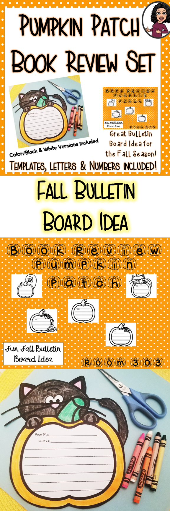 Pumpkin Patch Fall Themed Book Review Bulletin Board Set #pumpkinpatchbulletinboard Fun Book Review Activity that can be used as a Fall themed bulletin board.  5 Templates Letters and numbers included B&W and Colored #pumpkinpatchbulletinboard