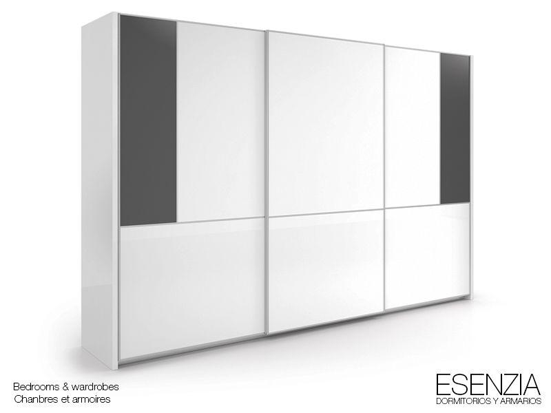 Esenzia armario 3 puertas correderas colgadas combinado color blanco con detalle en platino - Puertas correderas colgadas ...