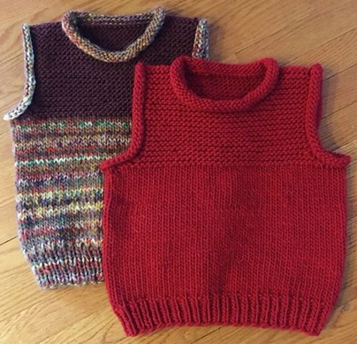 An easy, cozy vest knit in the round in bulky yarn with a ...