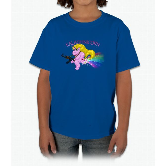 Pin-up Kalashnicorn Farting A Rainbow Unicorn Young T-Shirt