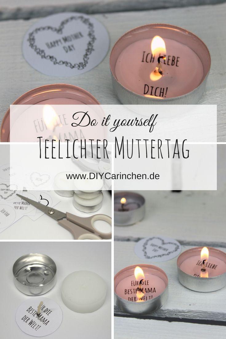 DIY Geschenk zum Muttertag - Teelicht mit Liebesbotschaft selber machen