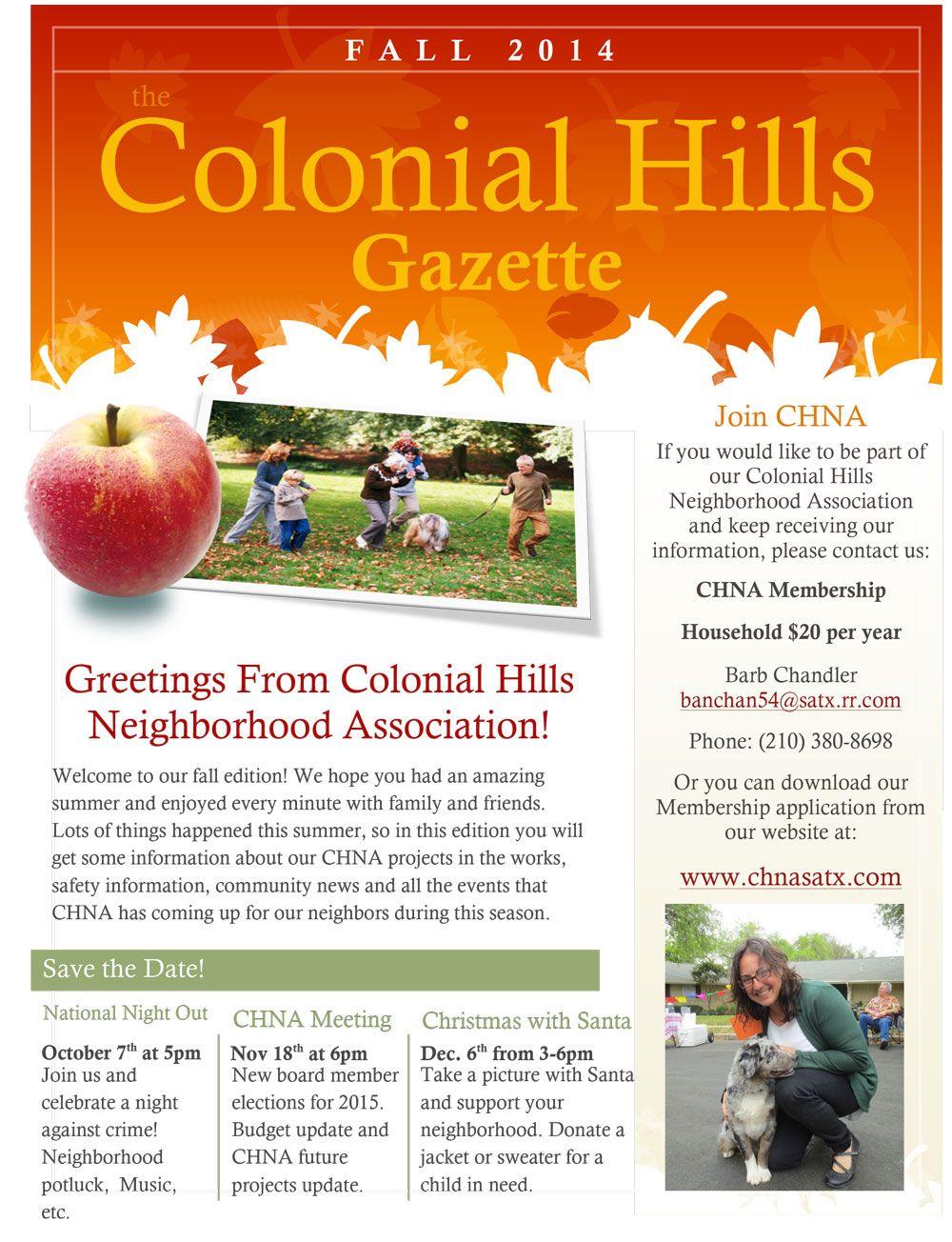 Our colonial hills neighborhood association fall newsletter our colonial hills neighborhood association fall newsletter neighborhood association newsletter templates maxwellsz