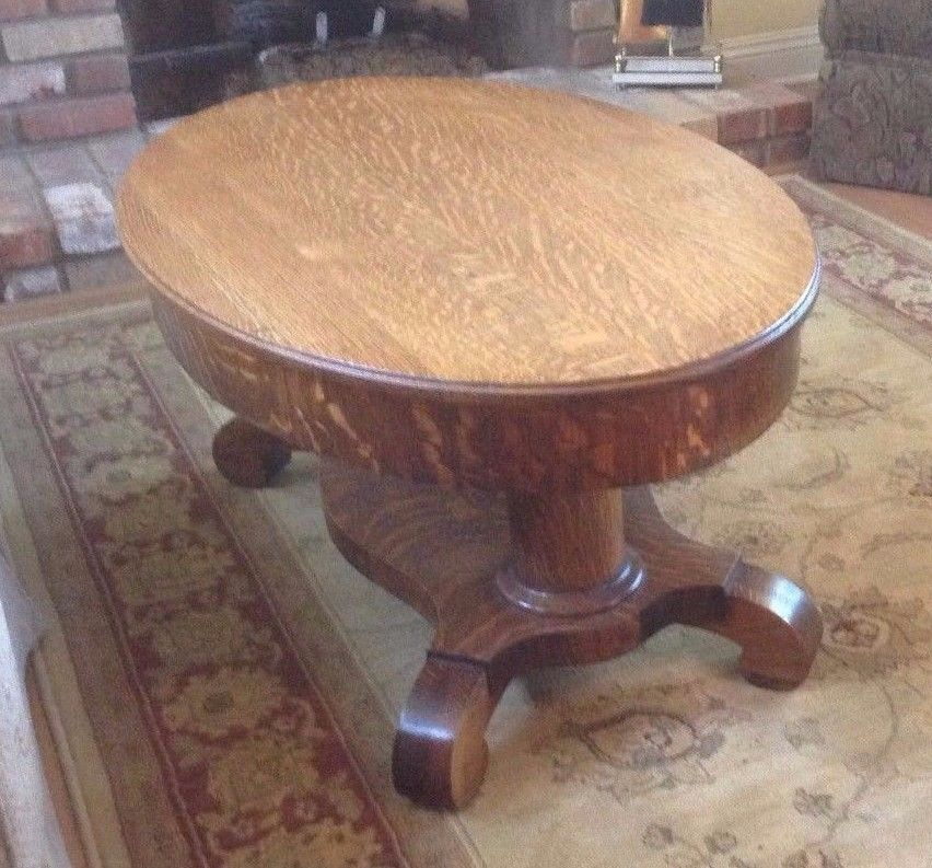 Antique Oak Oval Coffee Table Quarter Sawn Furniture Empire Unknown