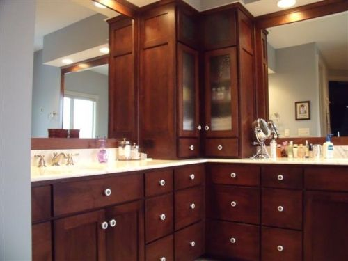 corner bathroom vanity cabinets |  and drawers with a unique