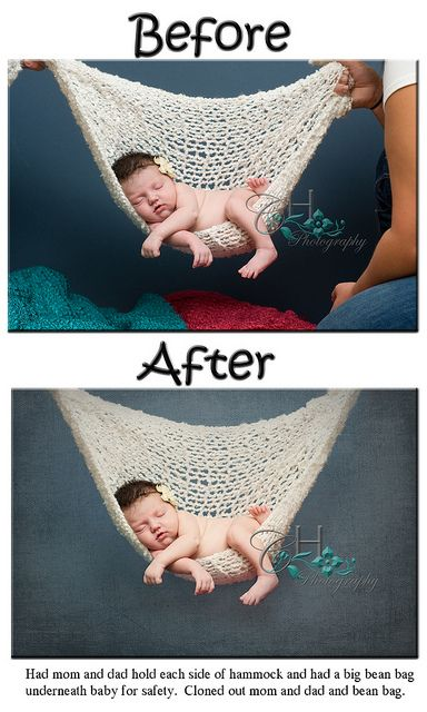 Composite.  Never hang baby up in the air.  Do pose over a beanbag and edit it out.