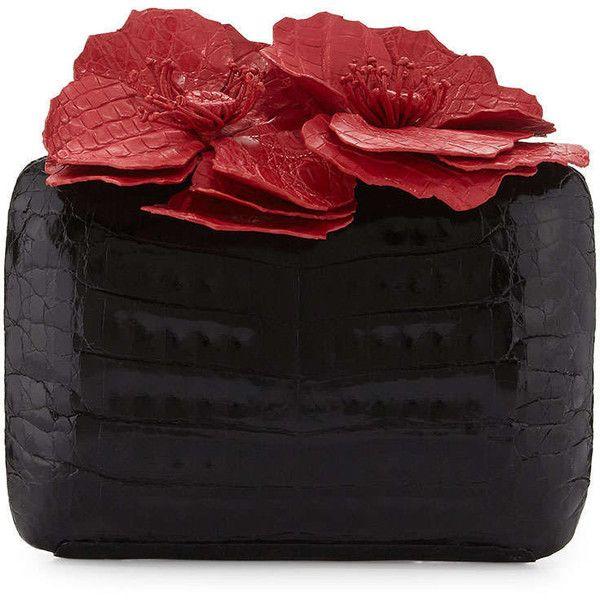 497d4fa059 Nancy Gonzalez Poppy Floral-Applique Crocodile Clutch Bag ( 2