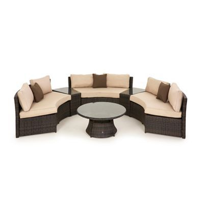 Debenhams Dark brown rattan-effect \'LA\' half moon sofa set ...