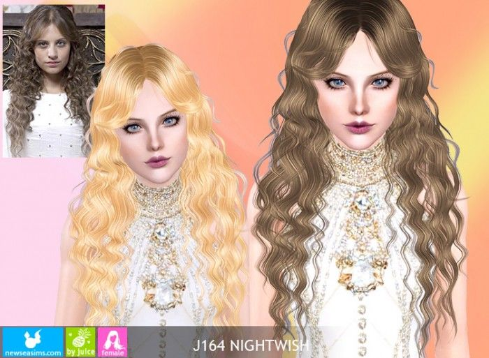 J164 Nightwish Long Curly Hair By Newsea Donation Sims 3 Sims Long Curly