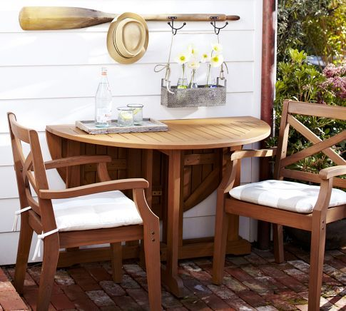 Hampstead Teak Round Drop-Leaf Dining Table & Chair Set - Honey | Pottery Barn $1900