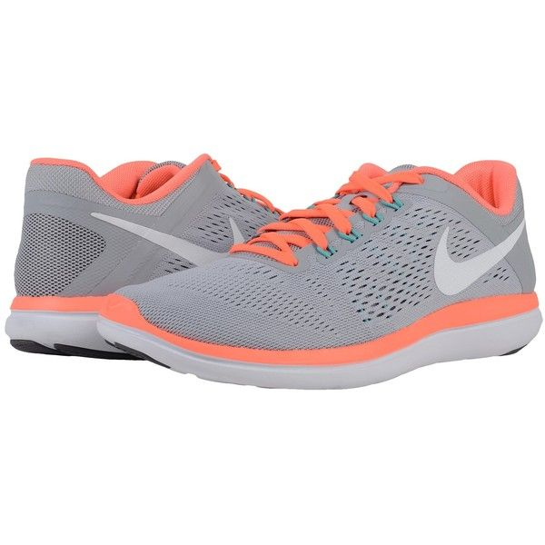 Nike Flex 2016 RN (Wolf Grey/Dark Grey/Bright Mango/White) Women's... ($80)  ❤ liked on Polyvore featuring shoes, athletic shoes, white shoes, dark grey  ...