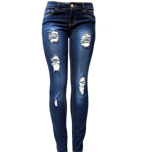 767763c66ff JK41 Juniors WOMENS DARK BLUE Denim JEANS Destroy Skinny Ripped... ($19) ❤  liked on Polyvore featuring jeans, pants, bottoms, calças, destroyed jeans,  ...