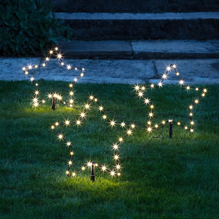 Trio Of Warm White Osby Stars Perfect For Your Garden Outdoor Christmas Outdoor Christmas Lights Bright Christmas Decorations