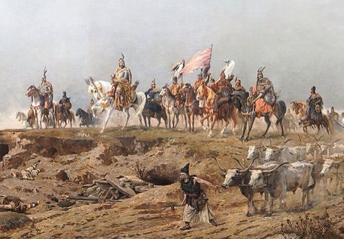 Grand Prince Árpád crossing the Carpathians. A detail of the Arrival of the Hungarians, Árpád Feszty's and his assistants' vast (1800 m²) cycloramic canvas, painted to celebrate the 1000th anniversary of the Magyar conquest of Hungary, now displayed at the Ópusztaszer National Heritage Park in Hungary.
