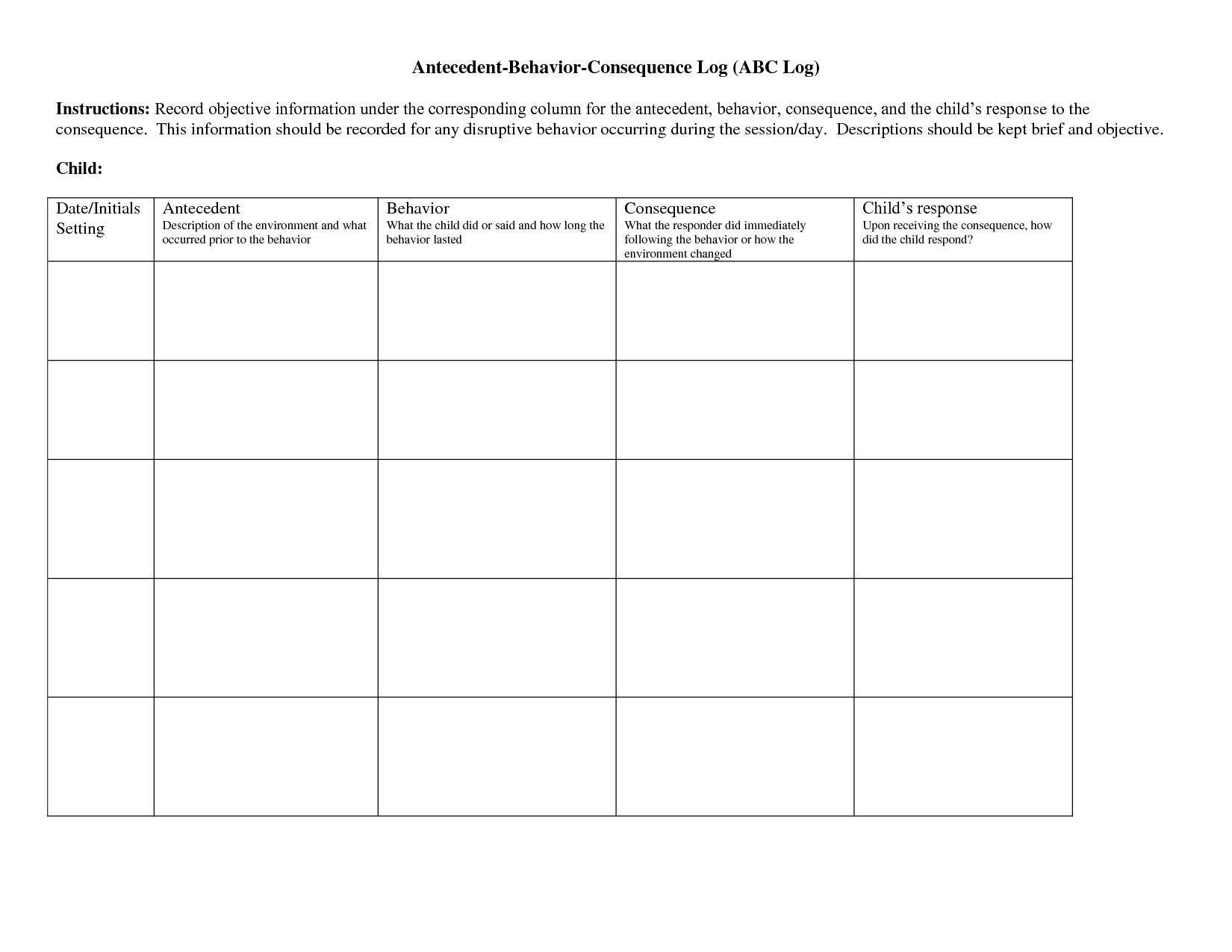 Abc Behaviour Log Sheet