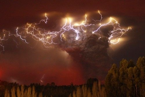 The eruption of the Puyehue volcano in the Andes mountains of southern Chile provided some spectacular images of the force of nature. Ash covers the landscape and thousands of people were evacuated from the surrounding rural communities. The volcano, which hasn't been active since 1960 when it erupted after an earthquake, sent its plume of ash 6 miles high across Argentina and toward the Atlantic Ocean