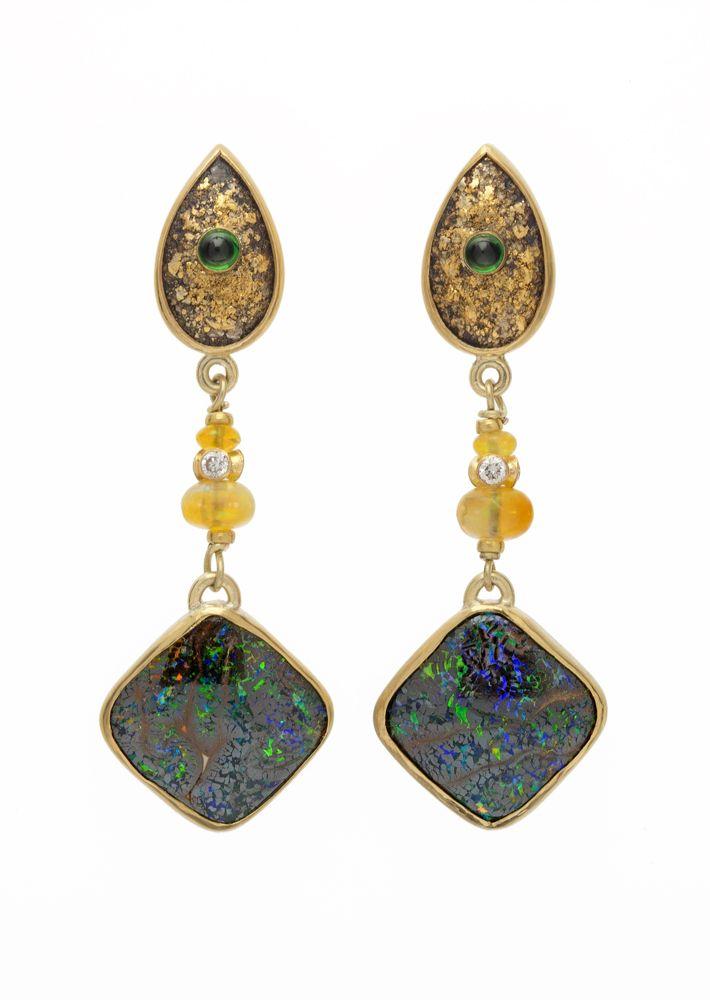 Sterling, 24K opals, tsavorite garnet and diamond earrings by Elizabeth McDevitt