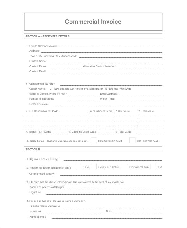 Commercial Courier Invoice Template  Commercial Invoice Template