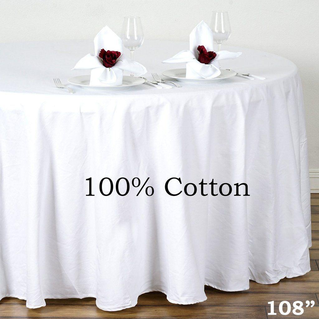 108 White Round Chambury Casa 100 Cotton Tablecloth Table Cloth Wedding Table Linens Cotton Tablecloths