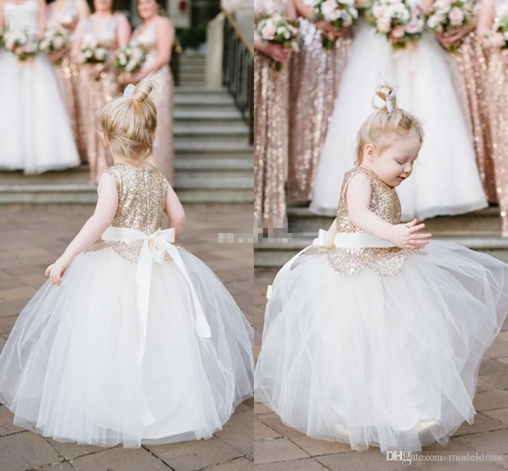 new cute sequins flower girls dresses for weddings jewel ball