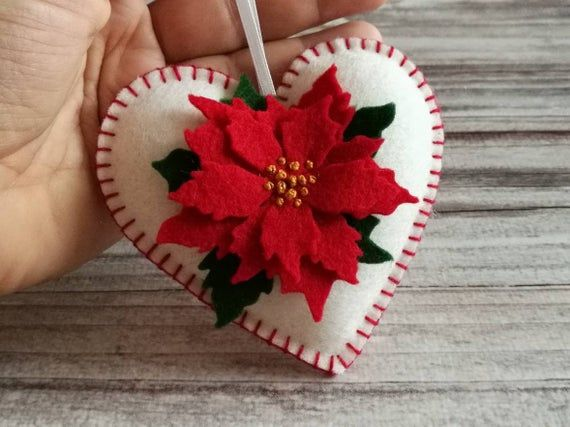 Felt Poinsettia ornament, White Heart ornament with Red Poinsettia flower, Christmas decoration, Valentines decor / MADE TO ORDER