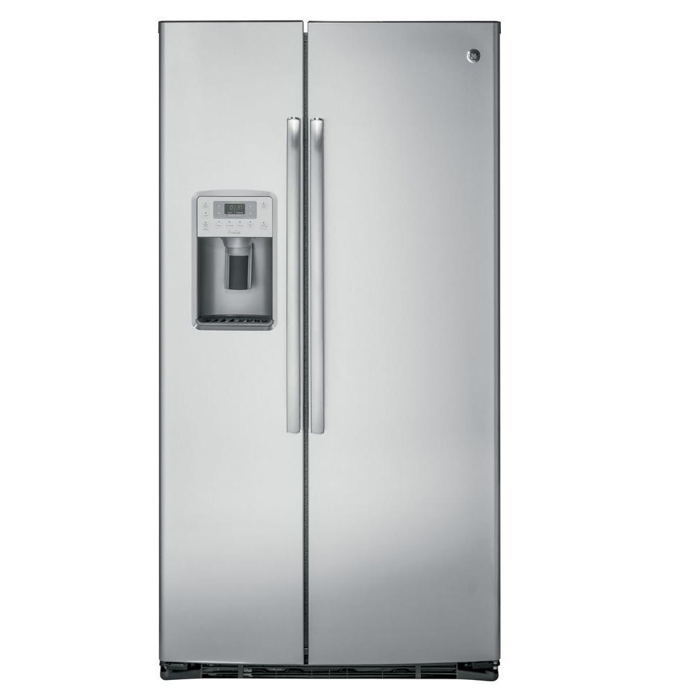 Ge Profile 36 In W 219 Cu Ft Side By Side Refrigerator In