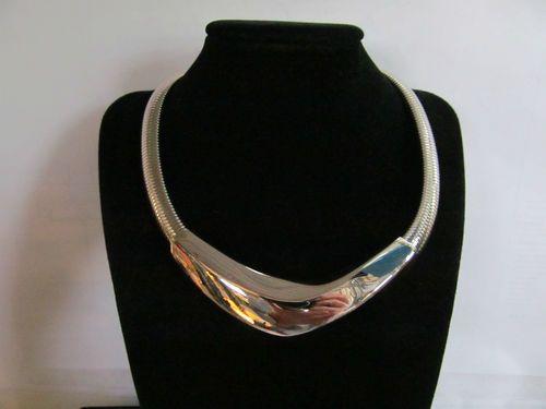 "Napier 16"" Choker Silver Chrome UNWORN Shiny Atomic Modernist Desgin Necklace   eBay"