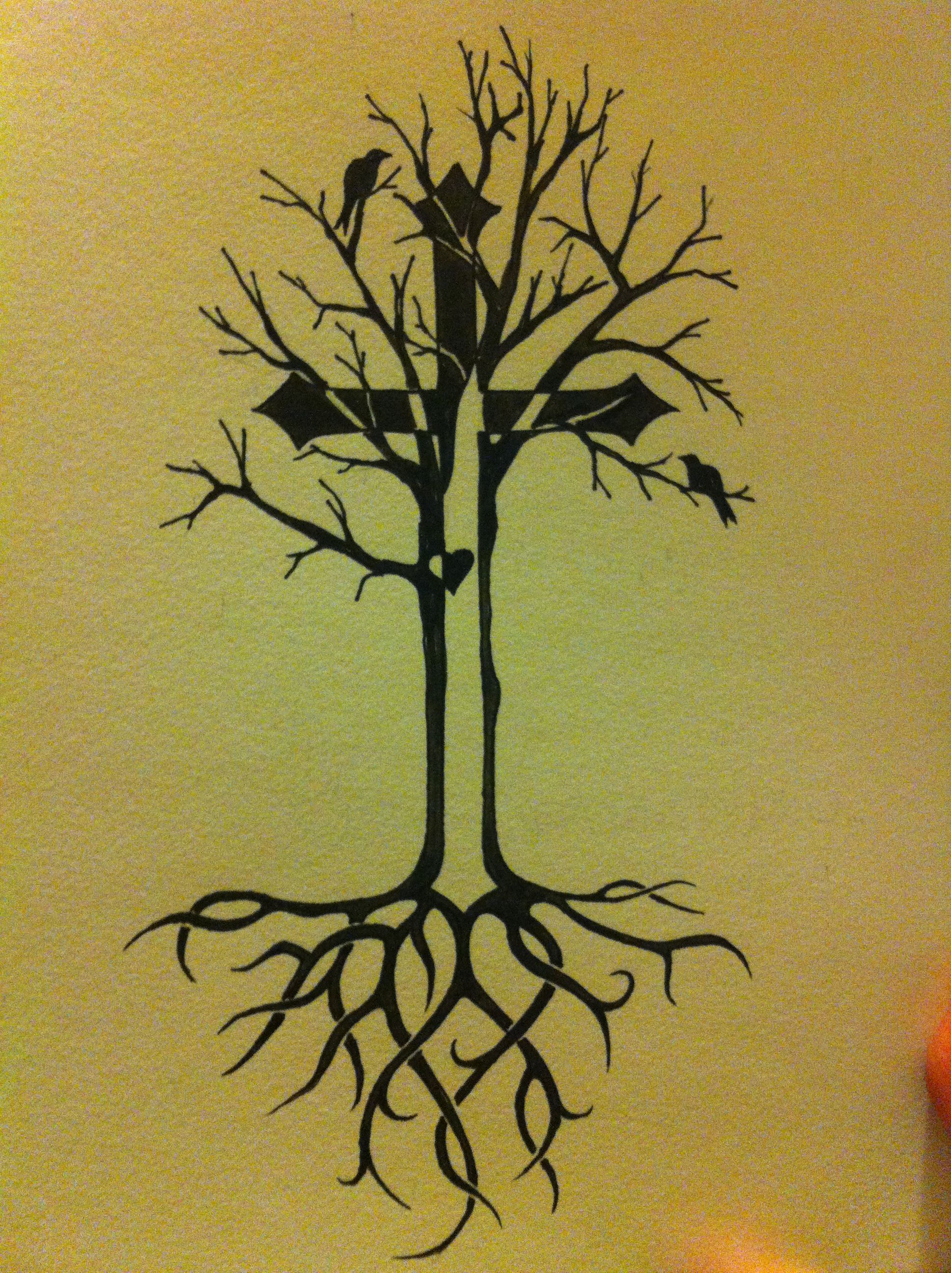 Tree of Life tattoo idea with celtic roots and cross | Tattoo ideas ...