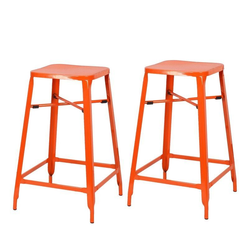 Awesome Square Metal Backless Barstools Set Of 2 26 Inch Machost Co Dining Chair Design Ideas Machostcouk