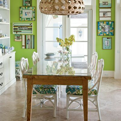 Use a playful, bright color palette in the dining room.