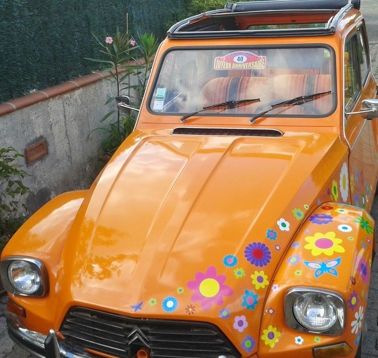 Hippy Motors 2CV Car Stickers Flowery Graphics